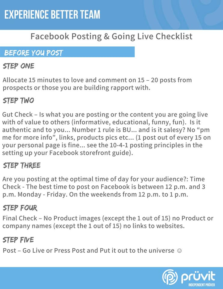 Facebook Posting and Going Live Checklist